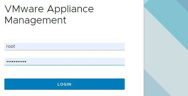 VMware vCenter Server 6.7 Update 2 - Appliance Management Login