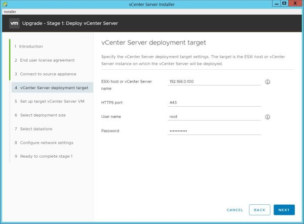 Upgrade vCenter Server Appliance from 6.7 to 7.0 - Appliance Deployment Target