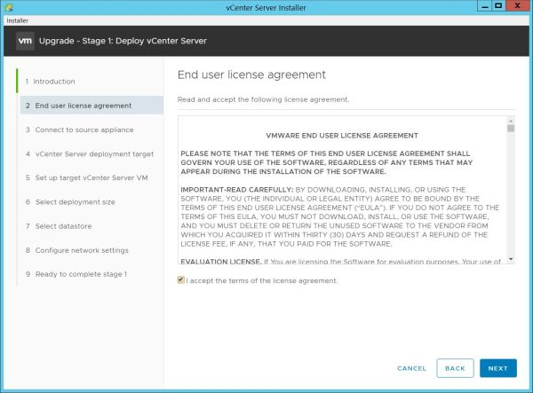 Upgrade vCenter Server Appliance from 6.7 to 7.0 - End User License Agreement