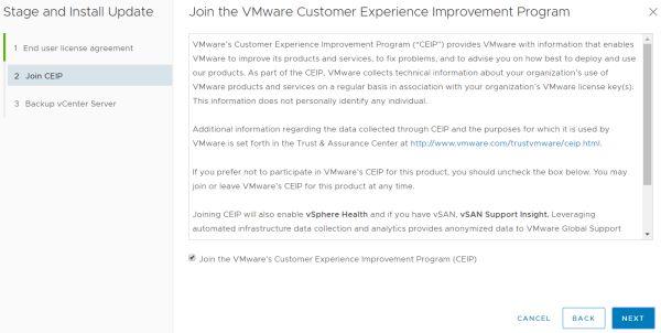 VMware vCenter Server 6.7 Update 3f - Join CEIP