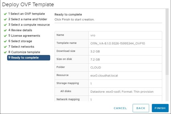 vRealize Orchestrator - Ready to Complete