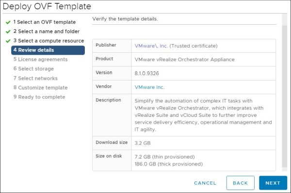 vRealize Orchestrator - Verify Template Details