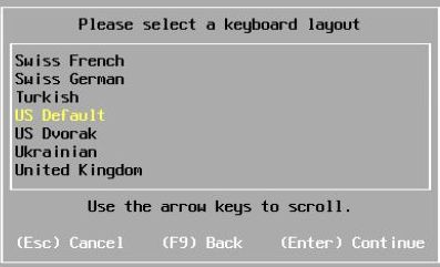 Install vSphere 7.0 - Select Keyboard Layout