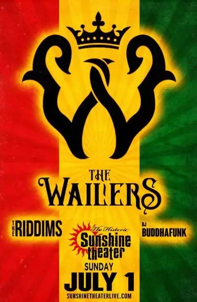 The Wailers, The Riddims, DJ Buddhafunk Sunshine Flyer
