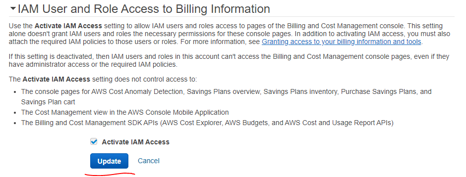 How to Provide Billing Access to an IAM User