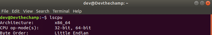 Validate Ubuntu system architecture 64-bit using lscpu command