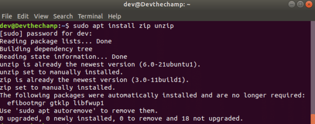 Zip-unzip-install-linux