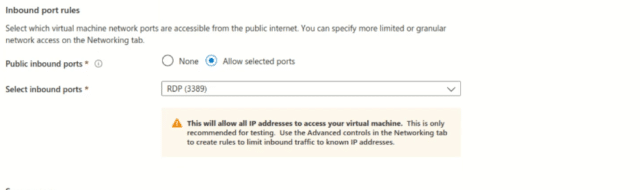 VM inbound port rules