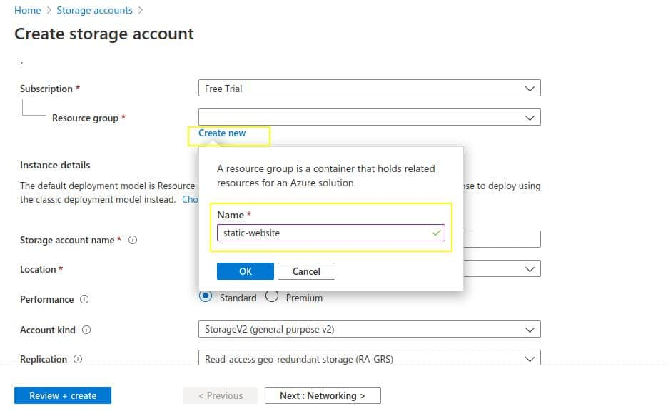 Create-new-resource-group-for-static-website-on-azure