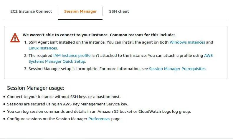 EC2-instance-session-manager-error