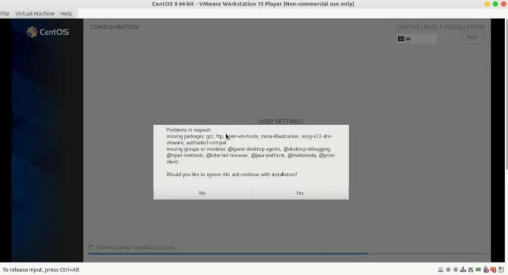 Centos package missing error during installation