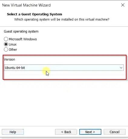 Leave ubuntu 64 type selected