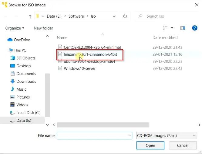 Select Linux mint 20.01 cinnamon 64bit image