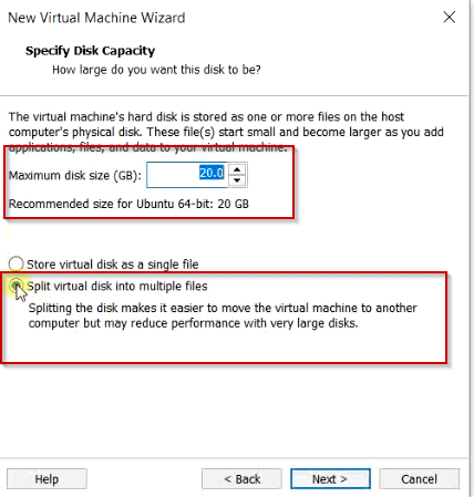 Select disk size capacity