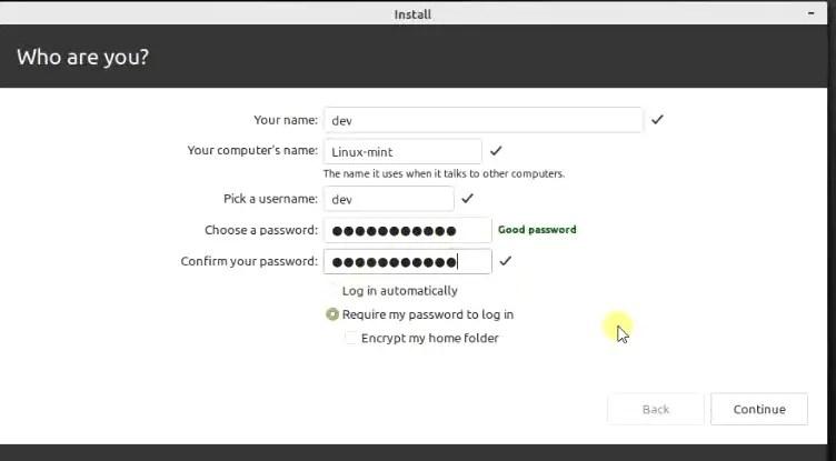 Select username password linux mint
