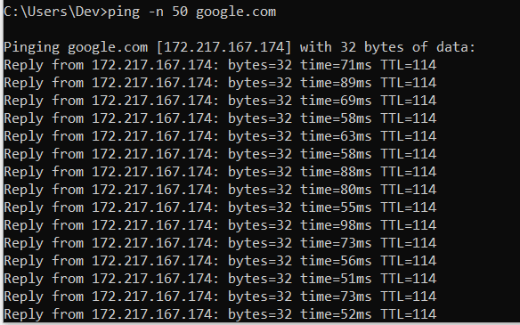 ping-google-50-times-in-windows10