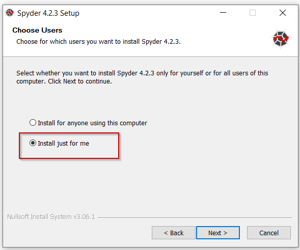 Select-Spyder-installation-user-preference