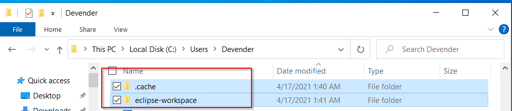 Delete-dependent-folder-cache-and-eclipse-workspace