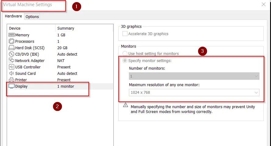 manually specify monitor settings