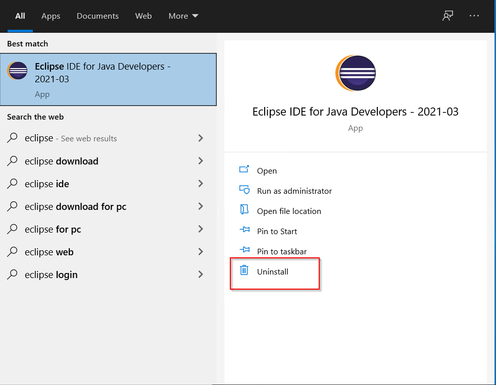 Why-no-uninstaller-for-Eclipse-IDE-Java