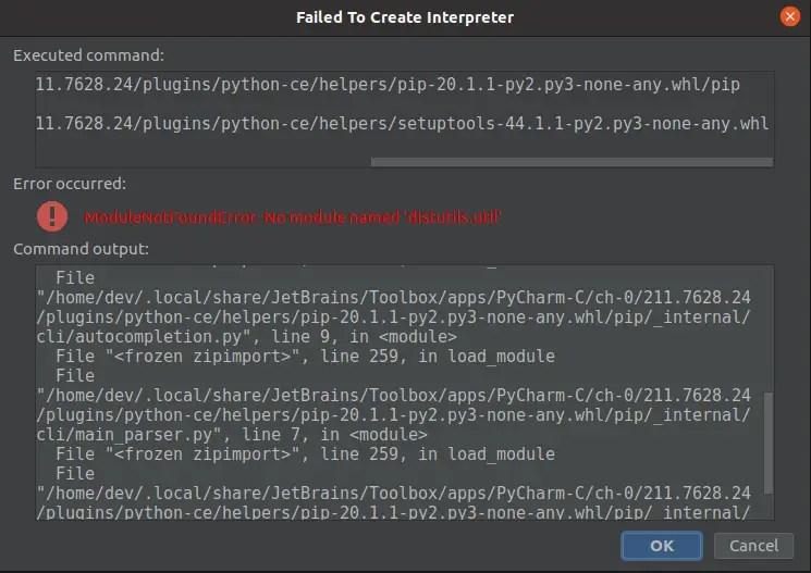 Module Not found error: No module named distutils.util error in pycharm