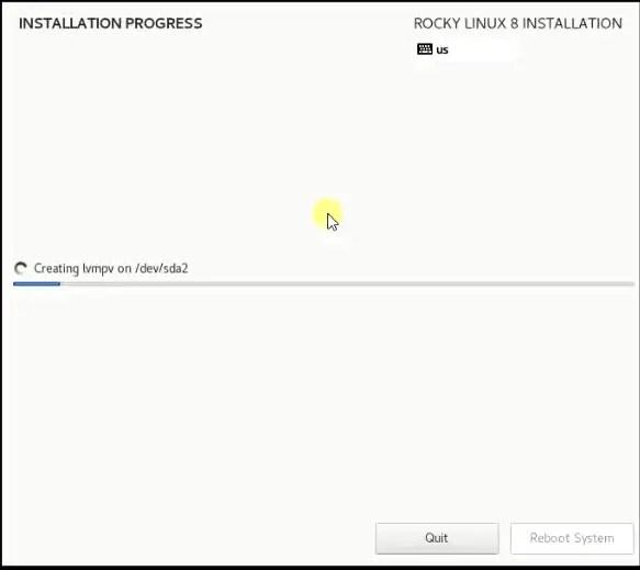 Rocky Linux installation progress bar