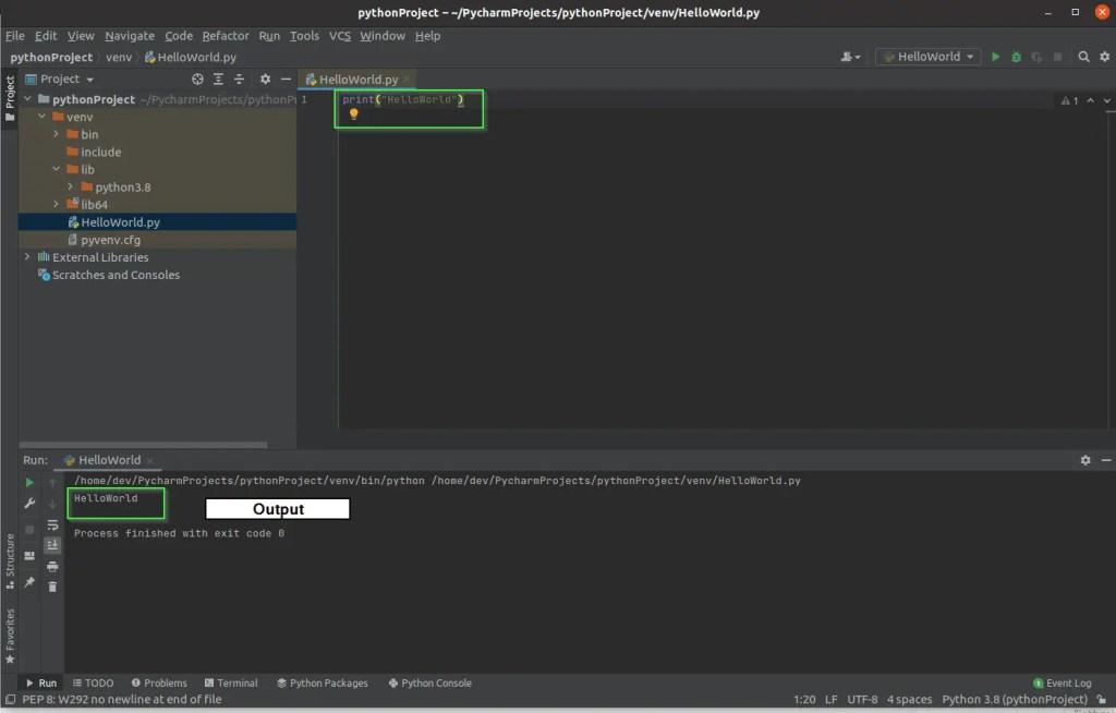 run your first code hello world using PyCharm