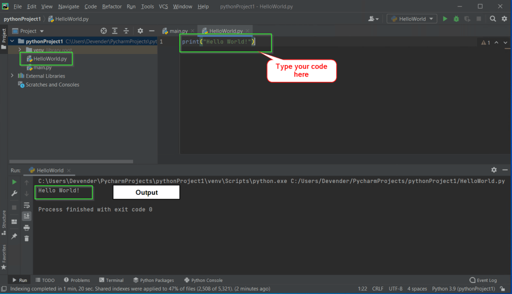 Run your first code in PyCharm