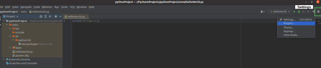 select settings to open plugin console in Pycharm IDE