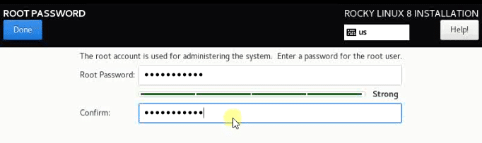 Provide a complex root user password in this section