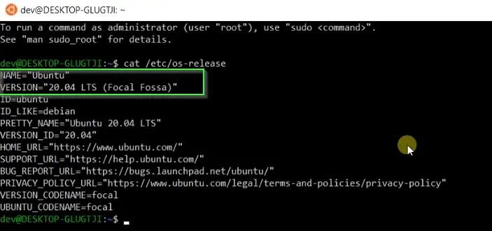 Check Ubuntu version using command cat /etc/os-release