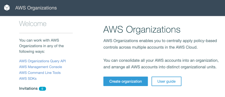 AWS Organizations default state