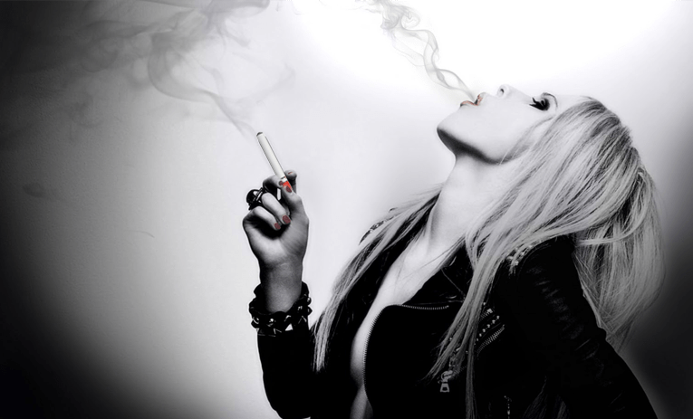 Sexy woman smoking ecigarette