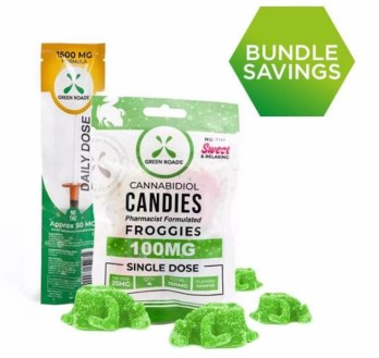 Green Roads bundle including daily dose syringe and froggies