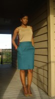 This was when I first started thrifting, mostly for professional clothing. Both the top and skirt are thrifted. God, I loved that skirt.