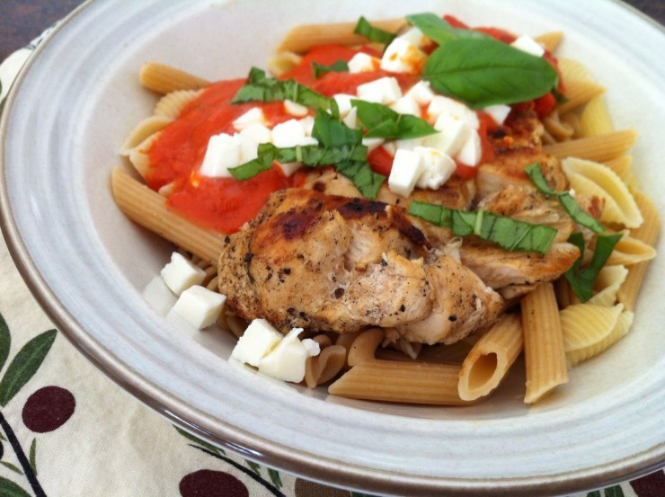 Grilled Chicken Pasta with Roasted Tomato Pepper Sauce