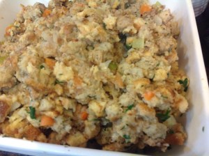 Thanksgiving dinner stuffing complete