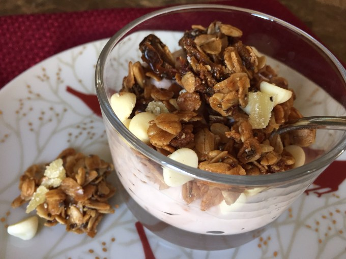 Gingersnap White Chocolate Granola with Chia and Dates (Nut-Free)