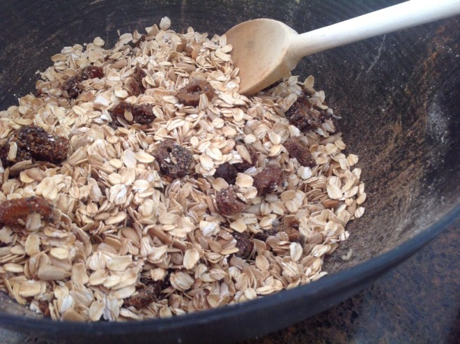 white chocolate granola ingredients