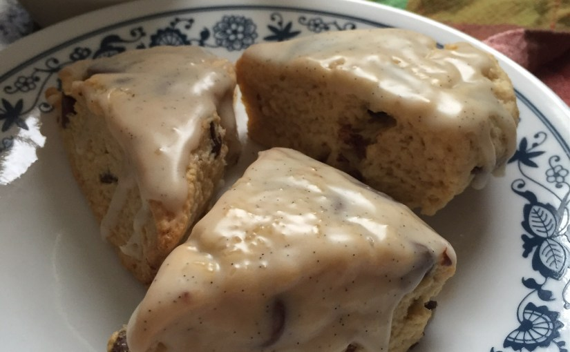 Mini Chocolate Chip Scones with Vanilla Bean Glaze