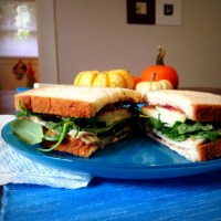 Rosemary Fig Jam, Turkey, Apple, and Arugula Sandwich