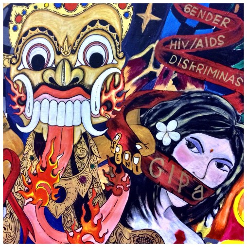 """Balinese-Australian artwork illustrating the discrimination against people living with HIV, in particular trans-gender sex workers. An 'eight ball"""" (not shown) represented the link between pool tables and sex workers in SE Asia, which I wasn't aware of."""