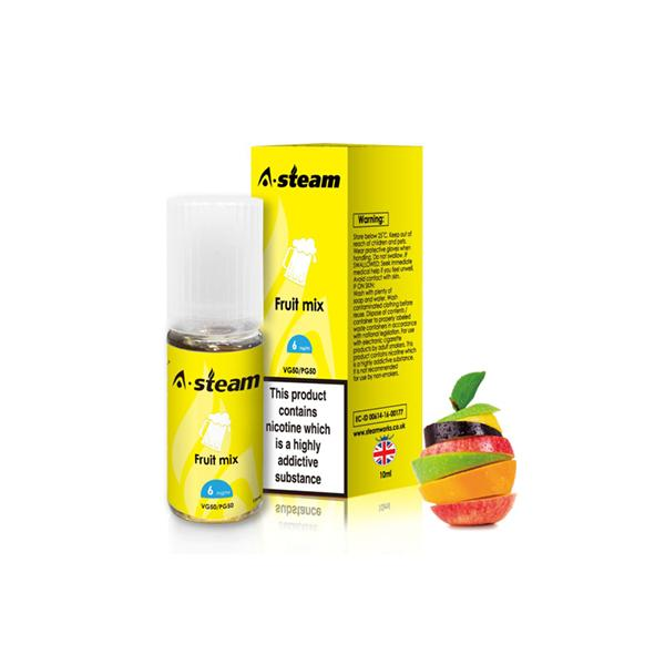 A-Steam Fruit Flavours 18MG 10 x 10ML E-liquid, Cloud Vaping UK