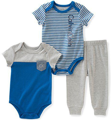 Calvin Klein Baby Boys' 3 Pieces Bodysuit Pant Set, Blue, 24M