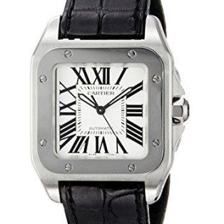 Cartier Midsize W20106X8 Santos 100 Automatic Leather Watch