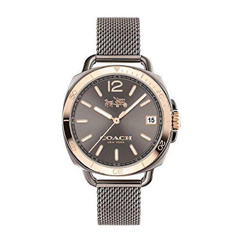 Coach Womens Tatum Gunmetal Stainless Mesh Bracelet Watch