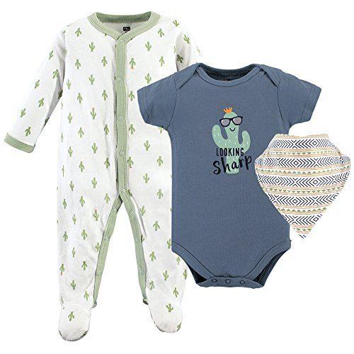 Hudson Baby Baby Sleep and Play, Bodysuit and Bandana Bib Set, 3 Piece, Boy Cactus, 6-9 Months