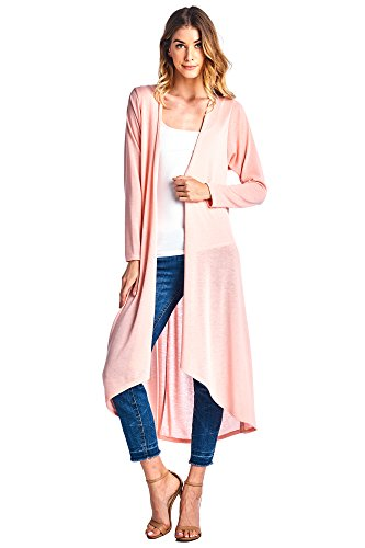 12 Ami Plus Size Basic Knit Solid Long Sleeve Maxi Cardigan Blush XXXL