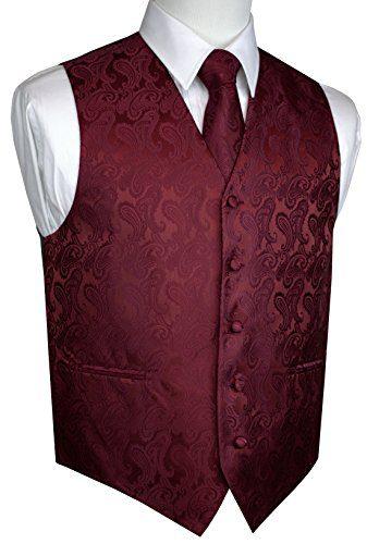 Brand Q Men's Tuxedo Vest, Tie & Pocket Square Set-Burgundy Paisley-3XL