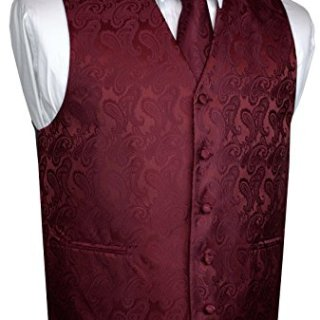 Brand Q Men's Tuxedo Vest, Tie & Pocket Square Set-Burgundy Paisley-3XL
